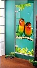 Сюжет Ш-060: фотопечать на стекле, яркие птицы