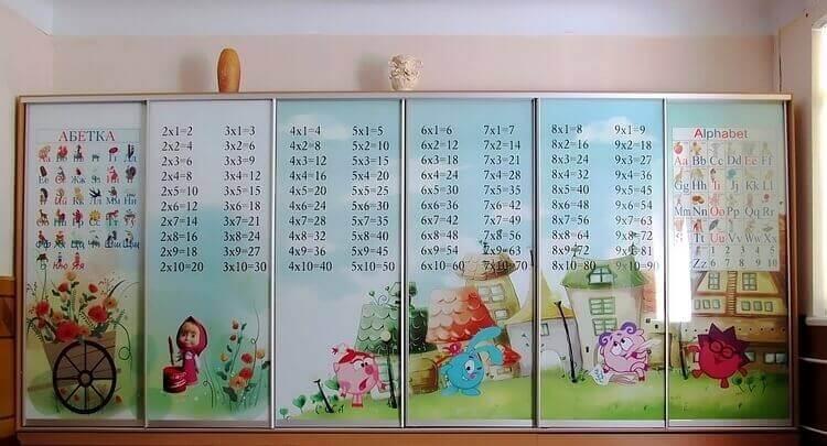 Шкаф-купе с фотопечатью: смешарики, таблица умножения, украинский и английский алфавит
