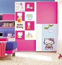 Шкаф-купе в комнате для девочки, Hello Kitty