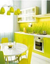 Фотопечать на стекле: рабочая кухонная стенка