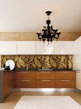 Фотопечать на стекле: рабочая стенка на кухне